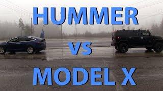Download Tesla Model X vs Hummer H2 tug of war Video