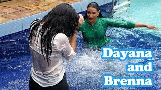 Download Dayane and Brenna soaked in the pool Video