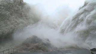 Download Amazing Mega Flood Waters At Dam Stock Footage Screener, Taiwan - 1920x1080 30p Video