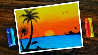 Download How to draw Sunset Scenery for Beginners with Oil Pastel step by step Video