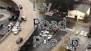 Download ICY ROADS!! Cars crashing one after another, PILING UP! Downtown Knoxville, T Video