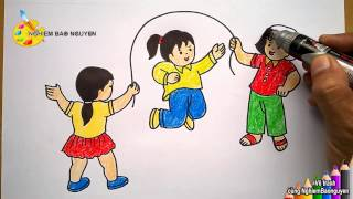 Download Vẽ tranh Bé nhảy dây/How to Draw baby jump rope Video
