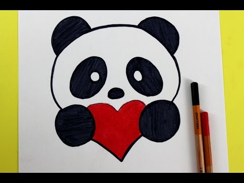 How to Draw a Panda with a Love Heart