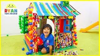 Download Pretend Play Lego and Color Balls PlayHouse Box Fort with Ryan ToysReview!!! Video