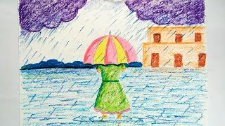 Download girl with umbrella drawing & color | rainy season drawing Video