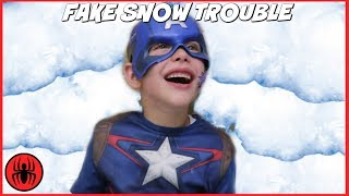 Download Captain America vs Freak Fly Bug Bites Attack v Giant Snow Monster FAKE SNOW TROUBLE! SuperHero Kids Video