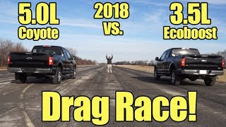 Download 2018 Ford F150 3.5L Ecoboost vs 5.0L V8 Coyote Drag Race! It's Kunes Country Prize Fights! Video
