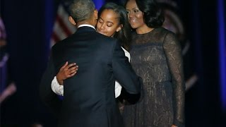 Download President Obama tears up while thanking Michelle and daughters Video
