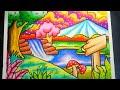 Download Cara Menggambar Mewarnai Pemandangan Air Terjun dan Gunung / Drawing Waterfall and mountain scenery Video