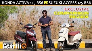 Download Suzuki Access 125 BS6 VS Honda Activa 125 BS6 - Comparison | GearFliQ | Hindi Video