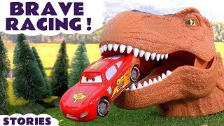 Download Disney Cars Toys Racing with Dinosaur and Hot Wheels Cars for Kids Spiderman Batman TT4U Video