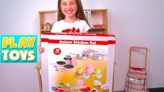 Download Kids cooking & playing with kitchen toys, velcro cutting fruit & vegetables, learn to count Video
