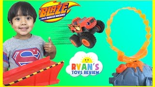 Download Blaze the Monster Machine Flaming Volcano Jump Playset Slam and Crash Zeg Toy Cars Video