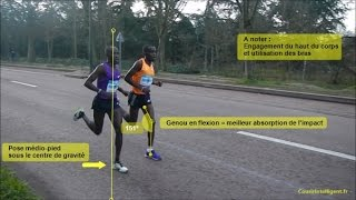 Download Semi Marathon de Paris 2016 - Analyse de la foulée des 1ers, attaque talon ou médio pied ? Video