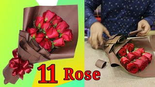 Download Flower wrapping, How to wrap roses hand bouquet // 11 Roses wrapping Video