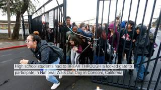 Download Students break through locked gate to participate in National Walk Out Day Video