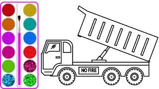 Download Dạy bé vẽ và tô màu Xe tải chở cá (Truck car drawing and coloring for kids) Video