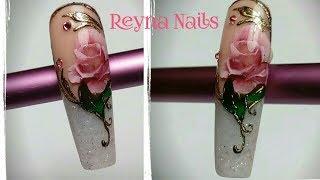 Download Diseño en tono blanco/mano alzada/foil/by Reyna Nails/ Video