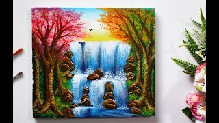 Download Step By Step Waterfall Landscape Painting for Beginners Video