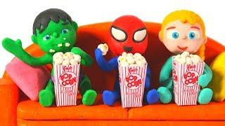 Download SUPERHERO BABIES ENJOY WATCHING A MOVIE ❤ Spiderman, Hulk & Frozen Elsa PlayDoh Cartoons For Kids Video
