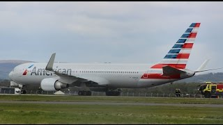 Download Hard & Loud Emergency Landing by American Airlines Boeing 767-300ER at Glasgow Airport Video