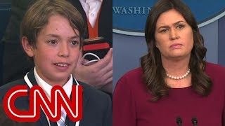 Download This kid's question made Sarah Sanders choke up Video