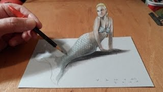 Download How to Draw a 3D Mermaid - Drawing Anamorphic Illusion - Vamos Video
