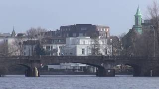 Download The beautiful Alster lakes of Hamburg in HD Video