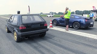Download 735HP VW Golf 2 R32 Turbo 4Motion vs Nissan GTR R35 Video