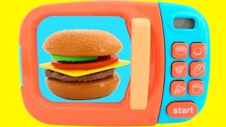Download Toy Microwave Hamburger Playset Play Doh Learn Fruits & Vegetables with Velcro Toys for Kids Video
