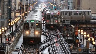 Download 【アメリカ】 シカゴの高架鉄道 Tジャンクション 電車の往来 Chicago 'L' The Loop T Junction  (2016.4) Video