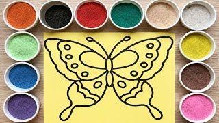 Download Đồ chơi trẻ em, TÔ MÀU TRANH CÁT BƯƠM BƯỚM XINH - Colored sand painting butterfly (Chim Xinh) Video