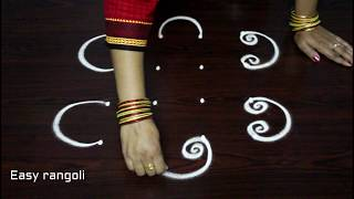 Download how to draw simple rangoli art designs with dots || simple kolam designs || easy muggulu rangoli Video