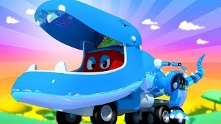 Download Carl der Super Truck - Jurassic - Spezial Folge: T-Rex Roboter Lastwagen - Cartoons für Kinder 🚓 🚒 Video