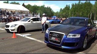 Download Audi RS6 Gorilla Racing vs CLS 63 AMG vs Gallardo TT Total Race vs 911 Turbo Video