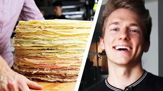Download 100-Layer Giant Crepe Cake Challenge: Behind Tasty Video