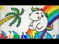 Download Pummeleinhorn im Urlaub zeichnen - Regenbogen malen - How to draw a Unicorn - как рисовать единорога Video