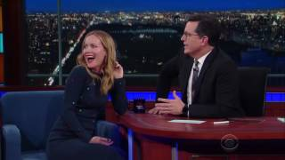 Download Stephen Colbert's wife cameo at her husband's Late Show! Video