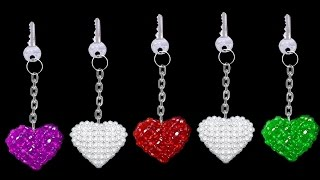 Download How To Make Crystal Beads Keychains At Home | DIY Home Made Keychains | ♥Heart♥ Video
