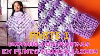 Download Poncho con mangas a crochet en punto FLOR JAZMÍN PARTE 1 con indicaciones para todas las TALLAS Video