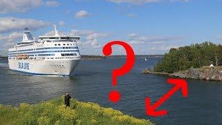 Download Huge Baltic ferry crossing a narrow path - Suomenlinna, Helsinki Video