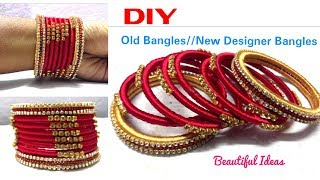 Download DIY||How to Make Old Bangles Turn in to New Silk thread Designer Bangles//ReUse Ideas/Bridal Bangles Video