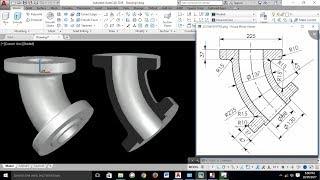 Download AutoCAD 3D Exercises Tutorials / Basics & Advance/ Pipe Bend 45° / Mechanical Part Model -1 Video