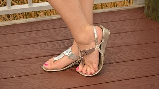 Download Well Worn Womens Silver Sandals Small Heel Shoes For Sale Video