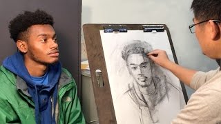 Download Key Steps for Start Drawing a Live Portrait with Charcoal Video
