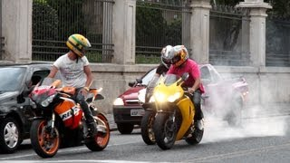 Download Honda CBR 1000RR Burnout, S1000RR & Hayabusa Wheelie, CBR vs. 650F, R1 R6 ZX6R Hornet - Lound Sounds Video