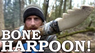 Download Primitive Technology   Bone HARPOON with STONE TOOLS   Hand Drill Fire, Fish Basket Cooking Video