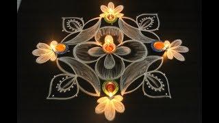 Download Beautiful Diya rangoli and kolam for Diwali for evenings || Deepavali muggulu Video