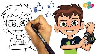 Download رسم بن تن خطوة بخطوة للمبتدئين من كرتون بن تن || تعليم الرسم للاطفال || كيف ترسم الكرتون Video