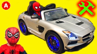 Download Super-Héros SpiderMan Mécanicien Adam Déballe Jouet Voiture Electrique Mercedes SLS AMG Video